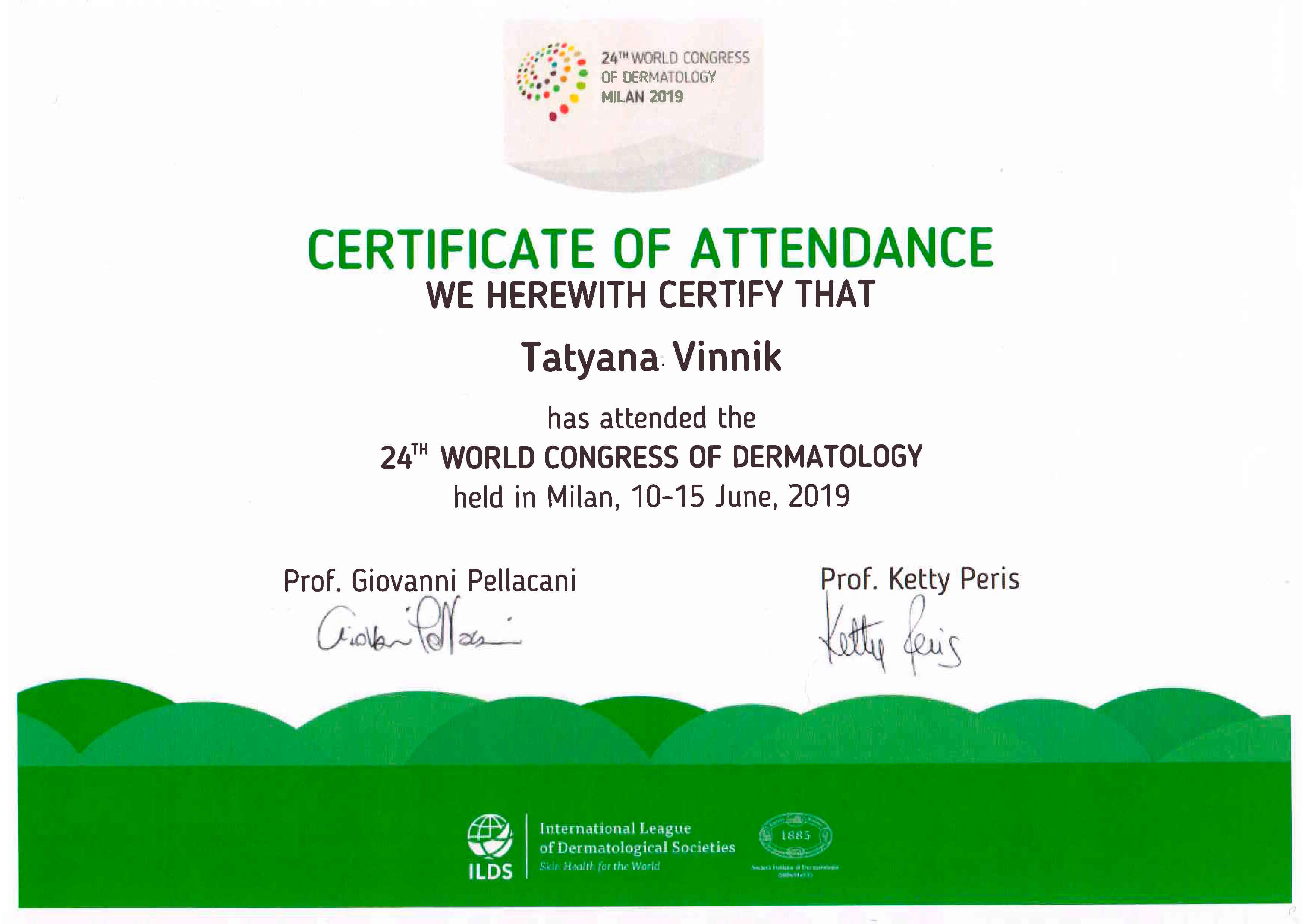 World Congress of Dermatology 2019, Milan, Italy - viclinics kz